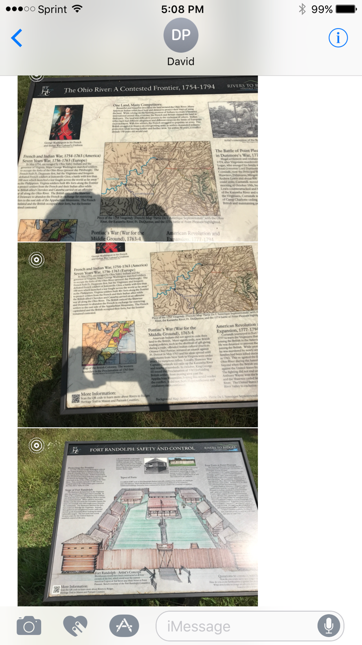 Top picture is information about George Washington looking at the land around what was to be Fort Randolph. Middle picture is information on the Fort itself Bottom pictures is a drawing of the inside of the Fort and the way it is laid out.