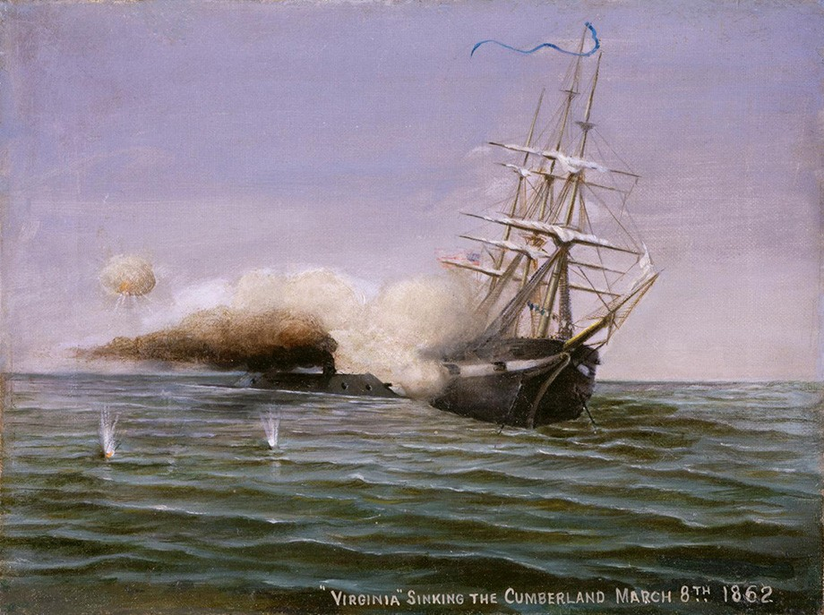 "Benjamin Adworth Richardson, ""Virginia Sinking the Cumberland March 8th, 1862,"" oil on canvas, 1907. On display on the second floor gallery."