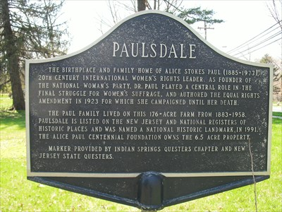 Photograph of historical marker at Paulsdale.