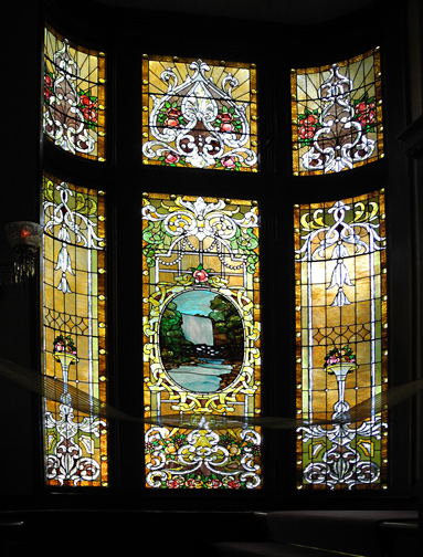 Stained glass windows in the Peck-Wilson House, Palo Alto, CA.