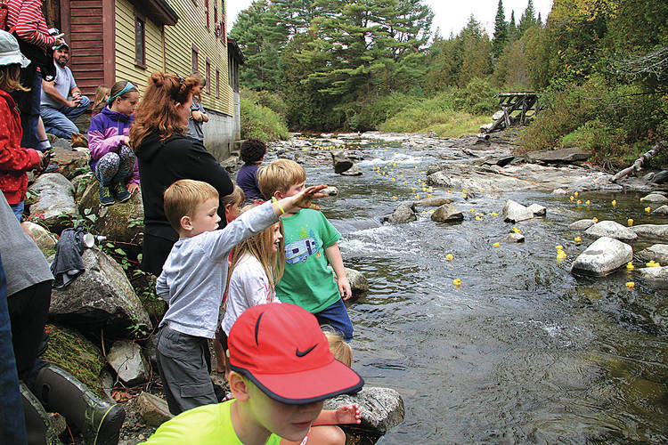 Children route for their ducks to win the annual Ben's Mill rubber duck race on the Stevens River.