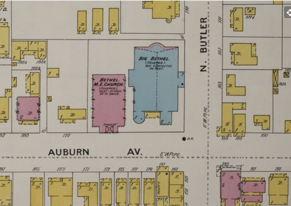 1899 map showing Big Bethel A.M.E. under construction (stone, blue), next to existing church (brick, red) (Sanborn Map Company p. 45)