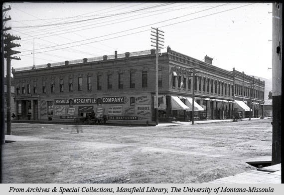 Exterior shot of the Missoula mercantile circa 1980. Image courtesy of mtmemory.org