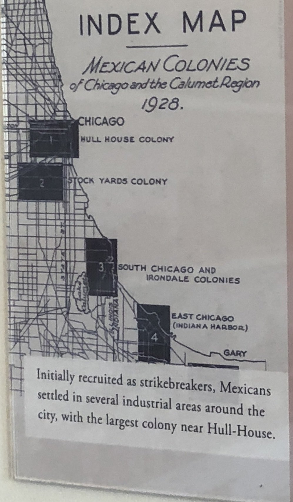 Mexican Settlement in Chicago in 1928. Photo taken from Jane Addams Hull House Museum.