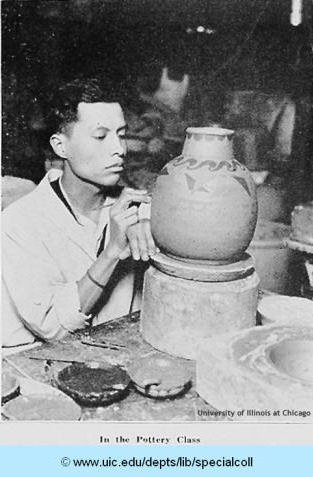 Jesus Torres in a pottery class held at the Hull-House Kilns in 1927. He would later become a leading Mexican-American Artist in Chicago.