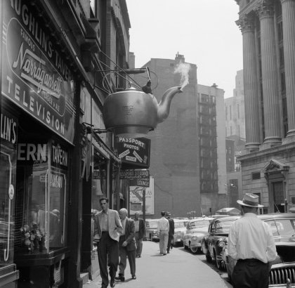 A view of the Giant Steaming Tea Kettle in 1955.