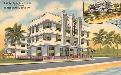 Miami Beach, FL.The Carlyle Hotel, Curteich Linen Roadside Postcard c. 1955. Credit: walkerspostcards, ebay