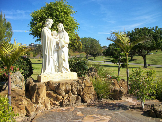 One of the many beautiful Catholic statues across Holy Cross, this one depicting Christ, the Madonna, and Joseph