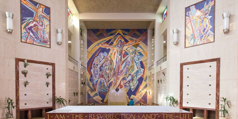 The murals inside the mausoleum, painted by Isabel Piczek