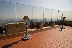 For their safety, visitors on the observation deck are surrounded by clear plexiglass.