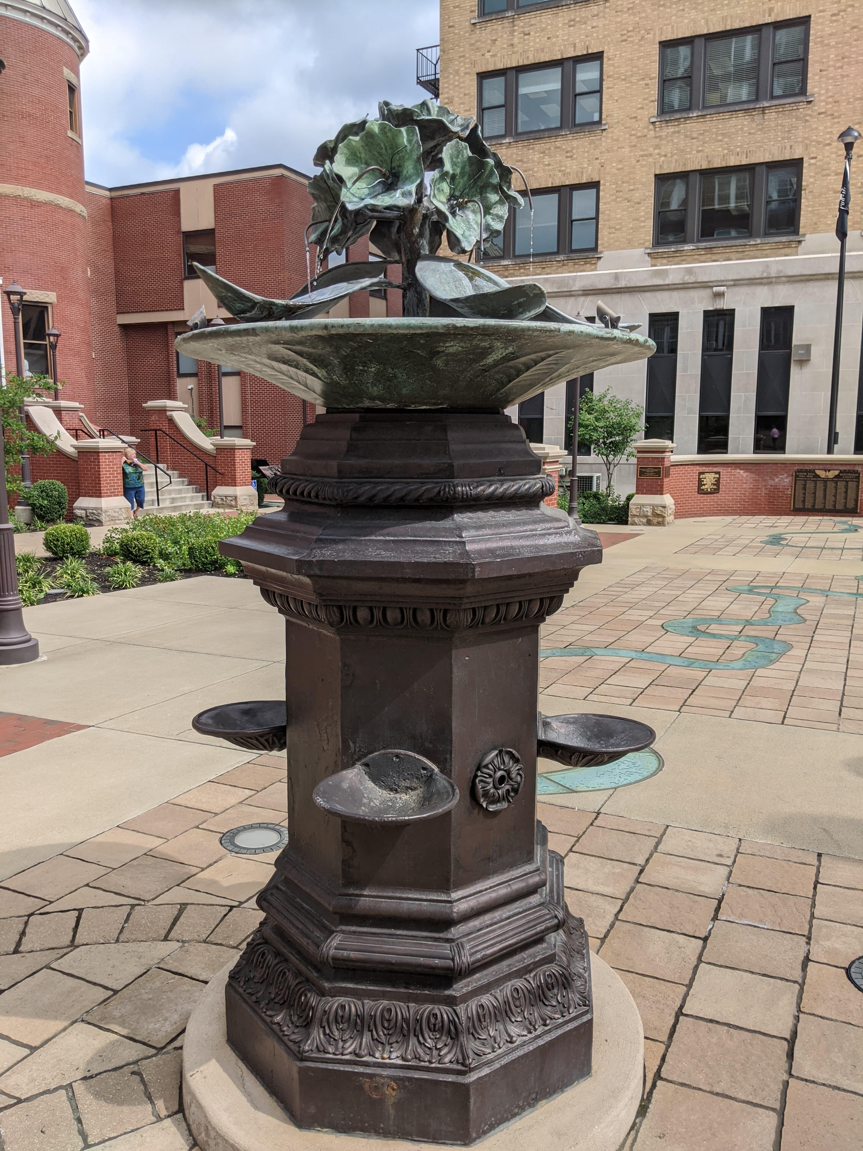 Restored fountain in the plaza