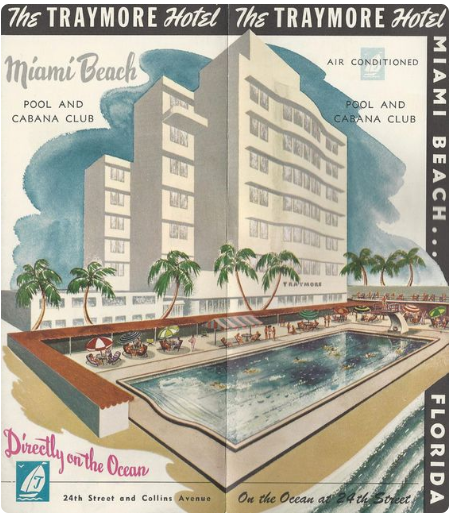 Traymore Hotel Miami Beach Florida Vintage Travel Brochure Circa 1950s.