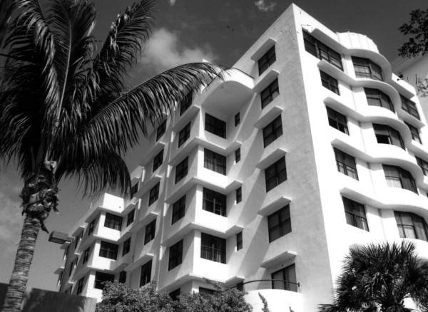 View of the Traymore hotel - Miami Beach, Florida. 1992. Black & white photograph, 3 x 5 in. State Archives of Florida, Florida Memory.