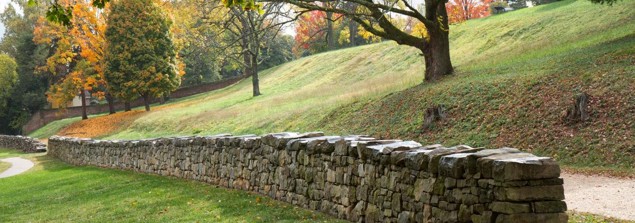 The reconstructed stone wall at Marye's Heights today