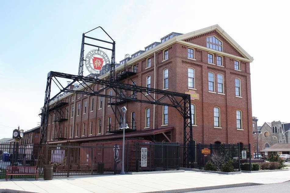 The 1882 former Master Mechanics Building that now houses the museum's indoor exhibit space.