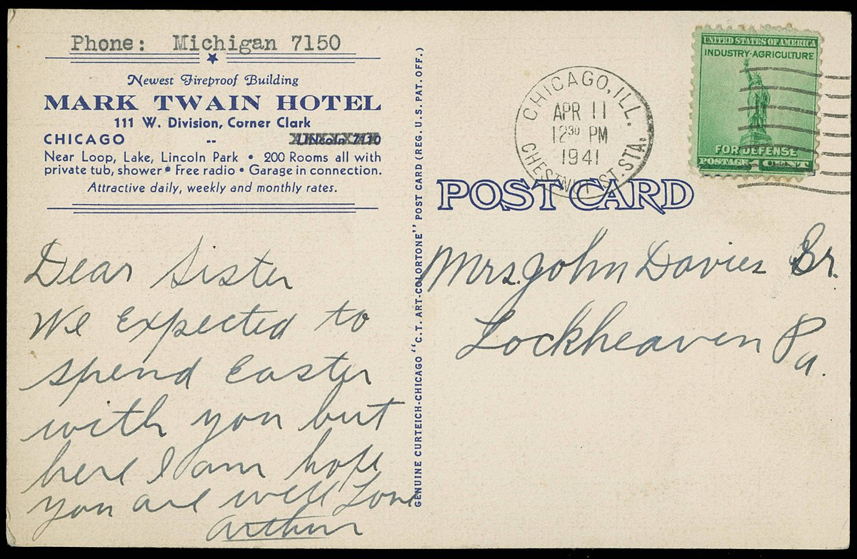 1941 Postcard written by guest to his or her sister. Notice the amenities include private bathrooms, free radio and affordable rates.