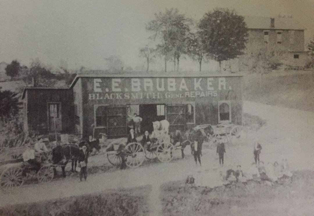 E. E. Brubaker's Blacksmith shop in the late 1800s.