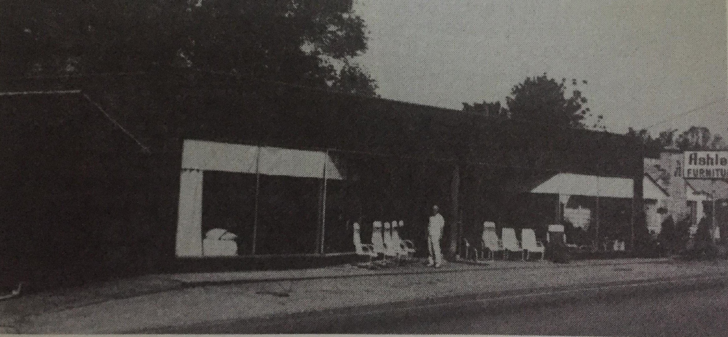 "Alva Ashley in front of his furniture store. Photo from ""The History of South Point Village."""