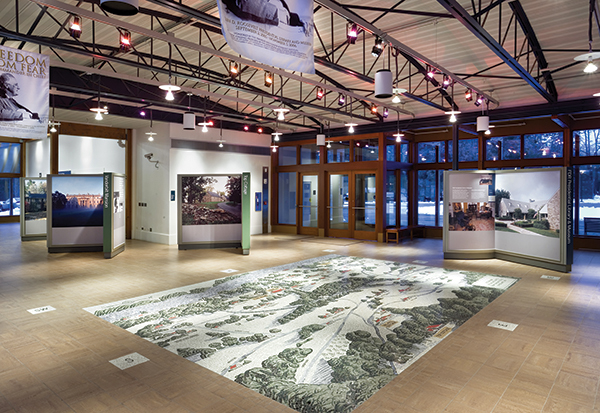 The floor mural at the Henry Wallace Visitor Center that depicts the Roosevelt Estate and other landmarks in Hyde Park