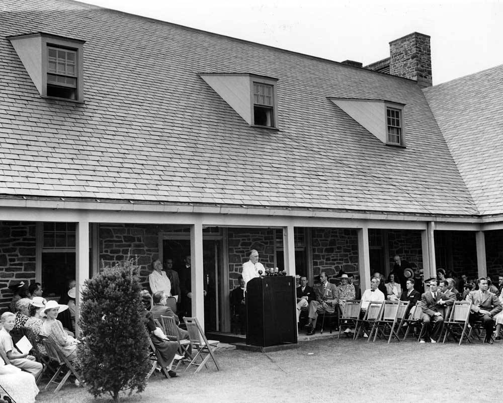 FDR speaking at the dedication of his presidential library, June 30, 1941