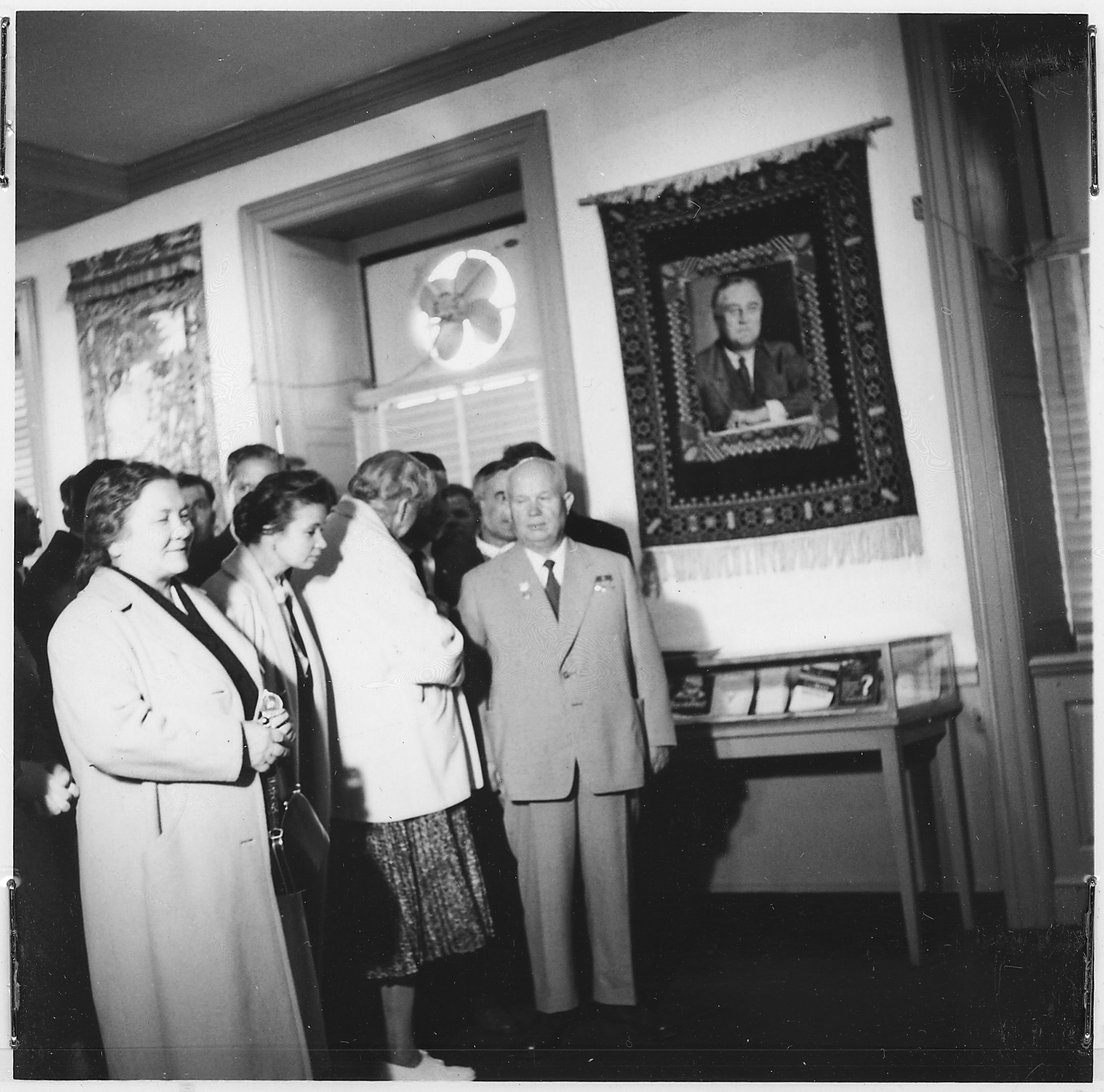Eleanor Roosevelt gives Soviet Premier Nikita Khrushchev and his wife Nina a tour of the FDR Library, September 18, 1959
