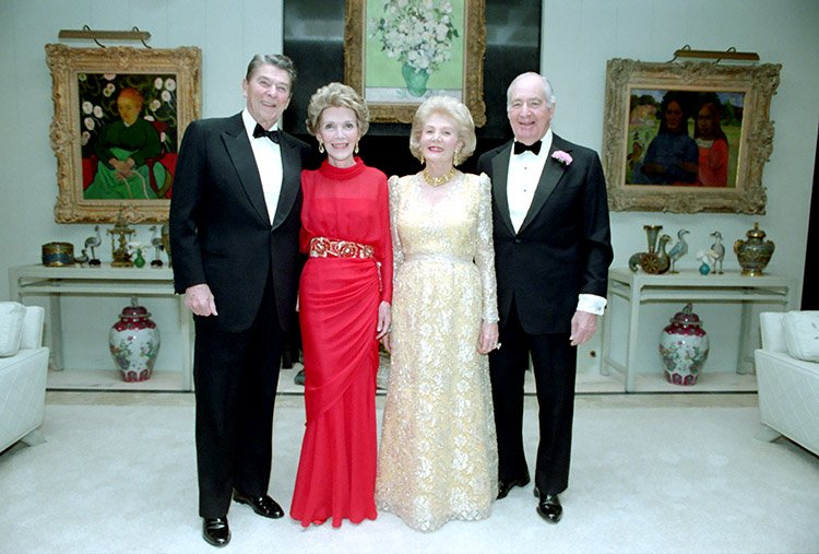 President Reagan and Nancy Reagan with Walter and Leonore Annenberg before a New Year's Eve Party, 1986