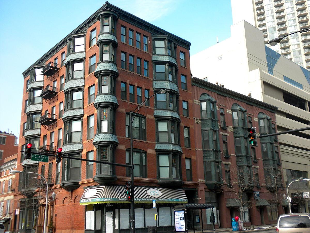 Burlingham Building, corner of Clark and Oak streets in Chicago.