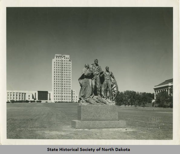Historic photograph of monument by L. W. Naegle (circa 1946-1960). Alexander G. Burr Papers, Mss 10121, State Historical Society of North Dakota.