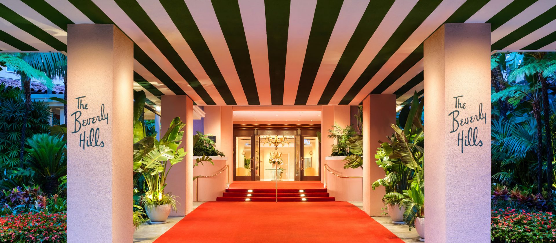 The entrance to the Beverly Hills Hotel
