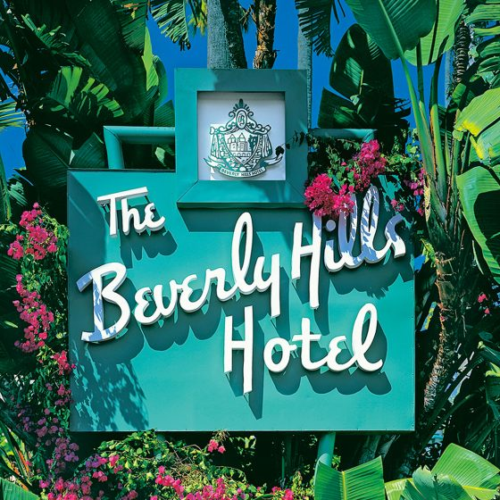 The famed Beverly Hills Hotel sign located on Sunset Boulevard