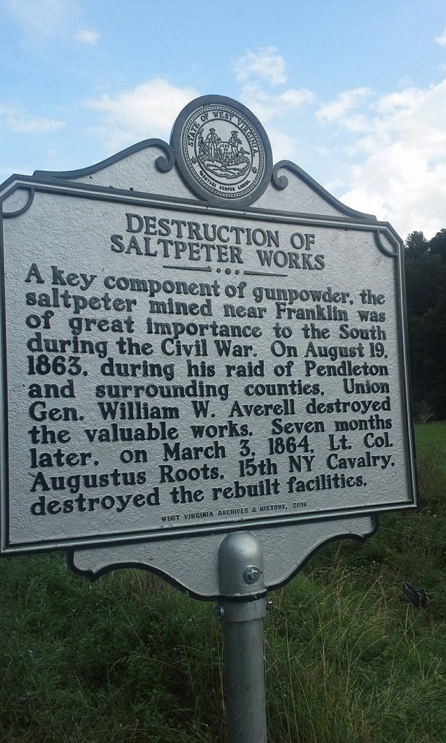 Destruction of Saltpeter Works Historical Marker
