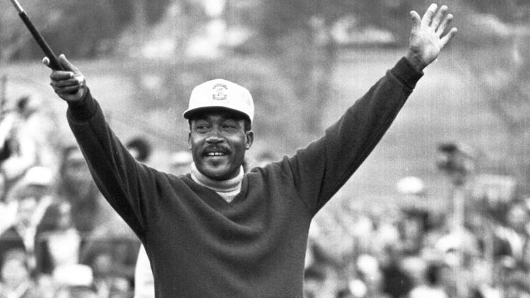 Charlie Sifford celebrating after wining first PGA tournament event