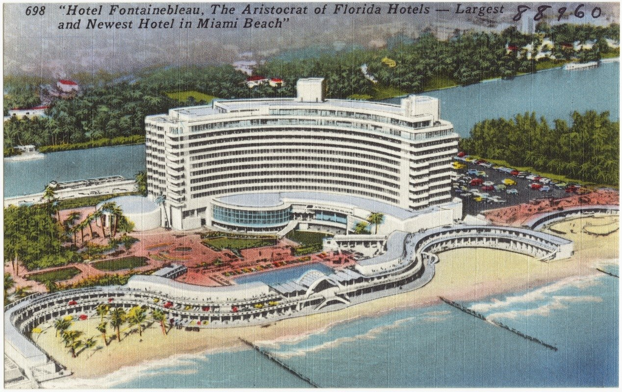 """Postcard of """"Hotel Fontainebleau, the aristocrat of Florida hotels- largest and newest hotel in Miami Beach"""", c. 1930-45. Credit: Boston Public Library, The Tichnor Brothers Collection"""
