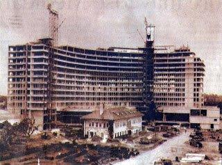 Miami Beach Fontainebleau Hotel Under Construction around the Firestone Estate (c. 1954). Credit: Transit Miami