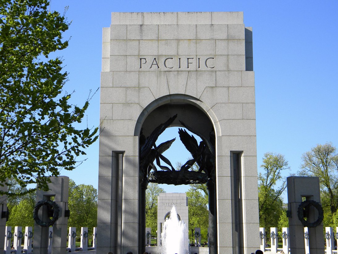 The Pacific Arch commemorates the island hopping campaigns against Japanese forces. Photo courtesy of Sdwelch1031 on Wikimedia.