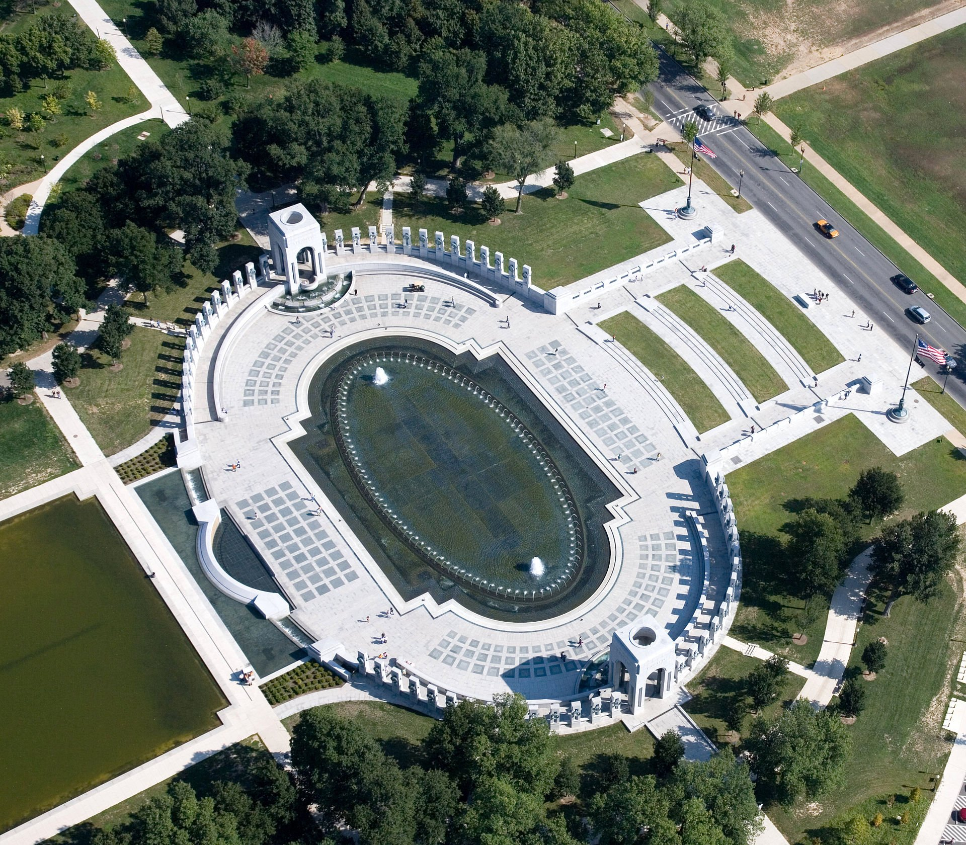 An aerial view of the National World War II Memorial.