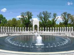 The National World War II Memorial is expansive, much like the war itself, but uses symmetry, flowing water, and inscriptions to indicate unity.