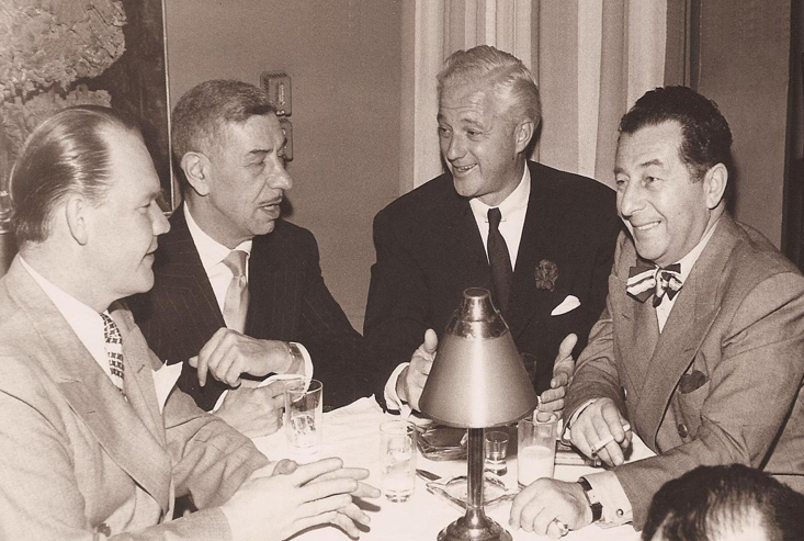 Dave Chasen, on the right, with Vincent Flaherty, a speechwriter for John F. Kennedy, Michael Romanoff, owner of Romanoff's Restaurant, and Charlie Morrison, owner of The Mocambo nightclub