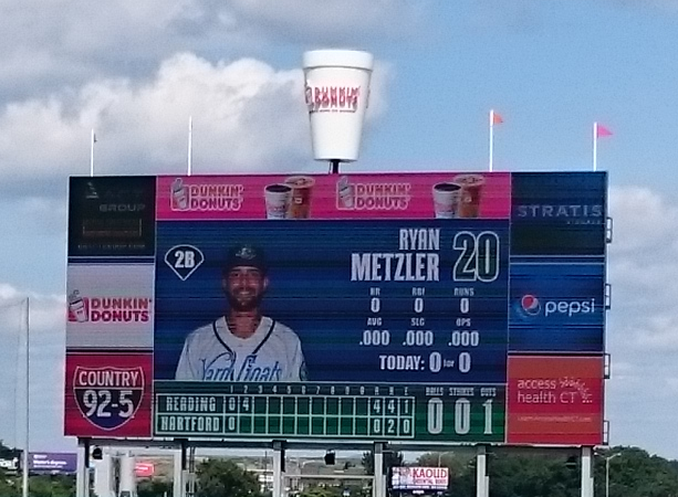 The scoreboard with the coffee cup that steams when a Yard Goats player homers.
