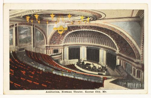 Interior of the Newman from a 1919 postcard shortly after its opening. Image courtesy of the Missouri Valley Special Collections.