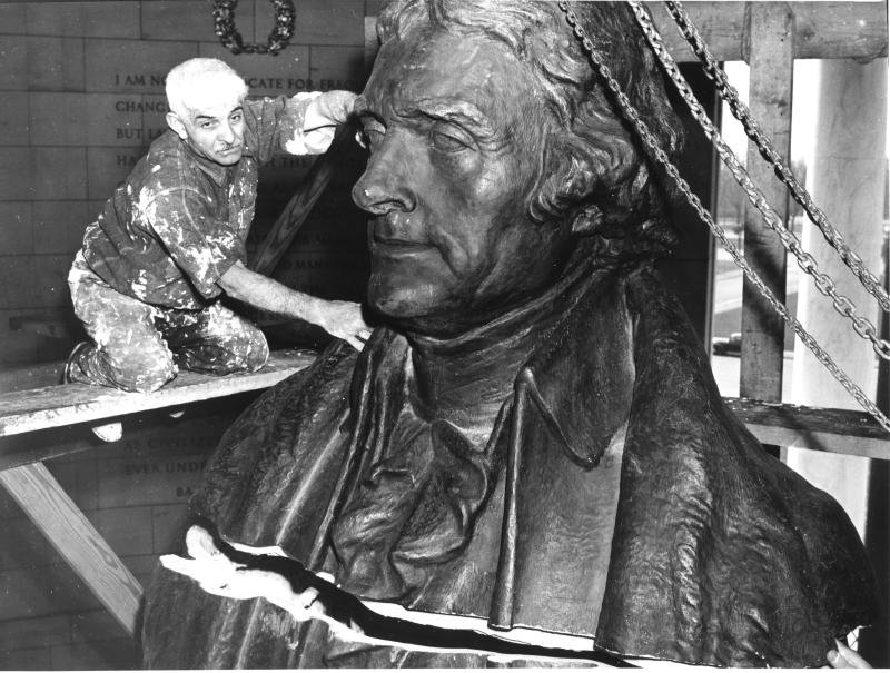 The temporary plaster statue of Jefferson was disassembled after World War II and replaced with the permanent bronze replica. Photo courtesy of the National Park Service.