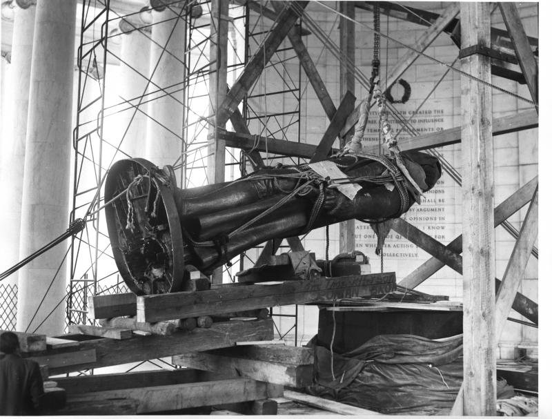 The Jefferson statue was hoisted into place atop a granite pedestal. Photo courtesy of the National Park Service.