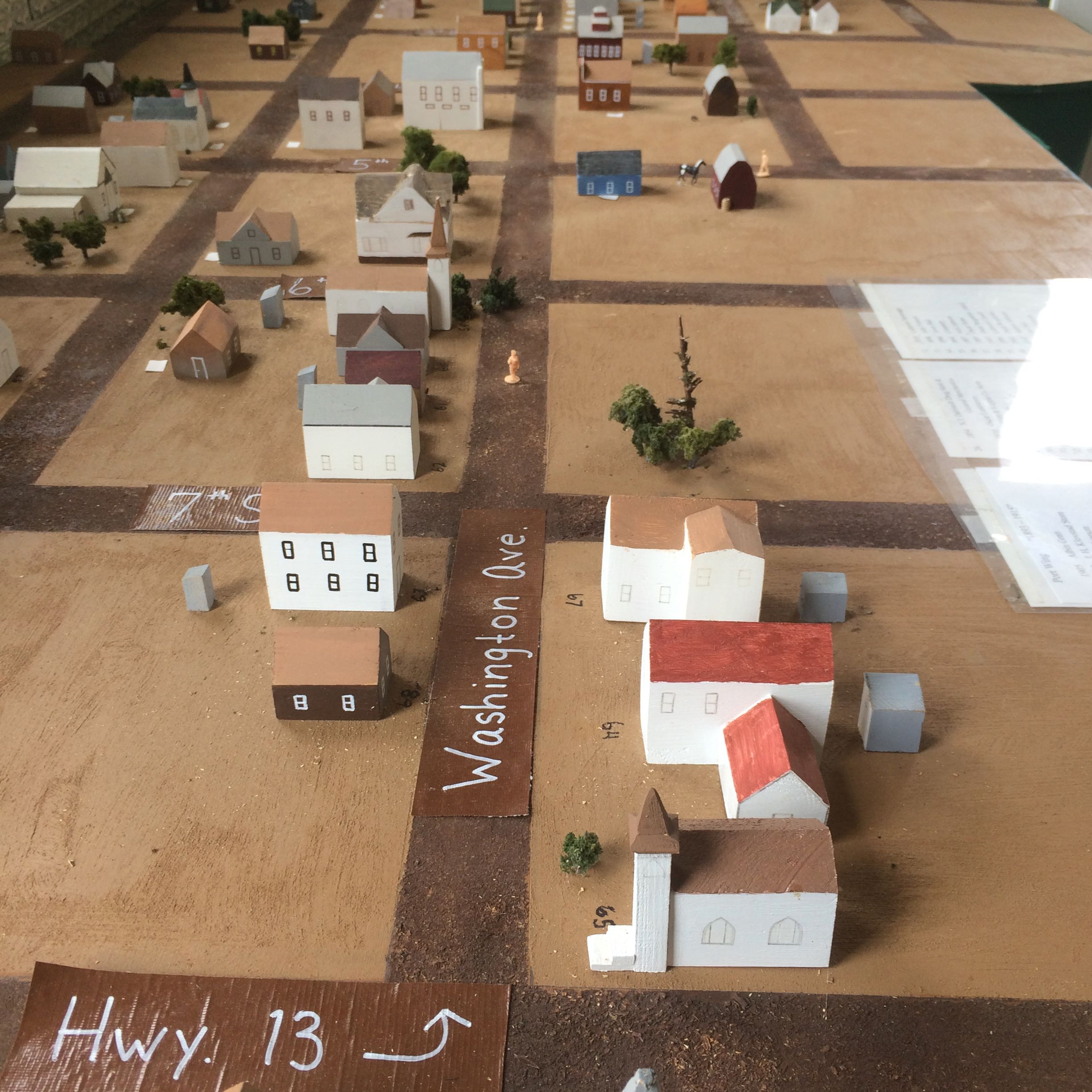 Model that replicates town buildings in the early 1900's