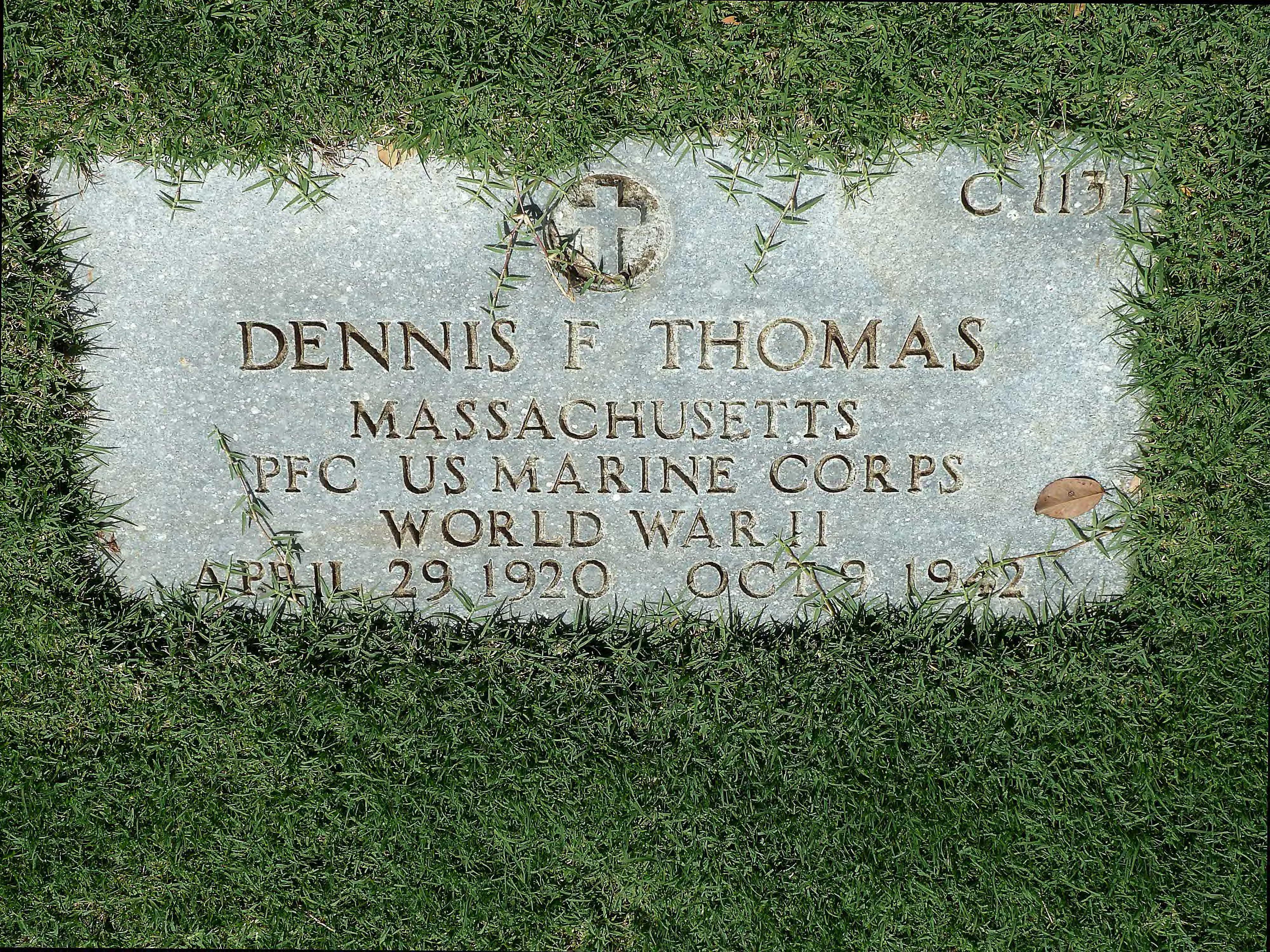 PFC Dennis Francis Thomas Grave