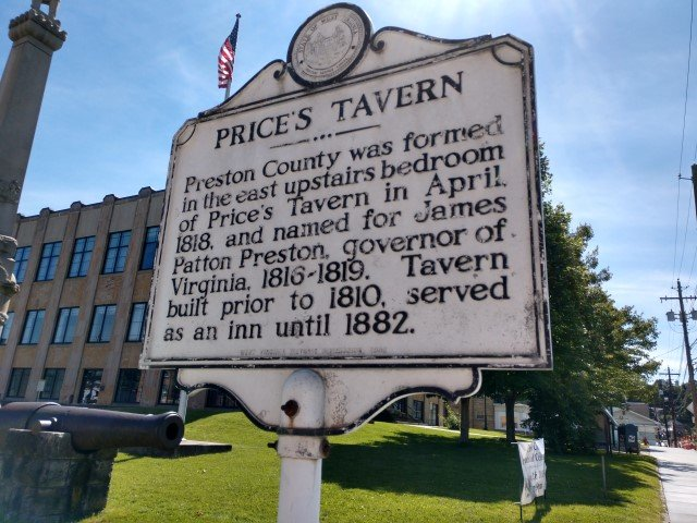 Historic Marker depicting location of Price's Tavern where Preston County was formed (view from east to west)