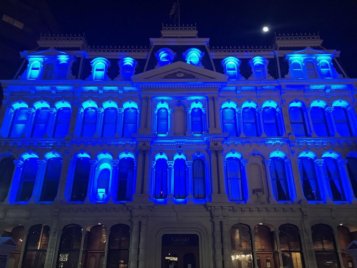 The Grand honors frontline workers in 2020 with blue lights during the COVID-19 Global Pandemic