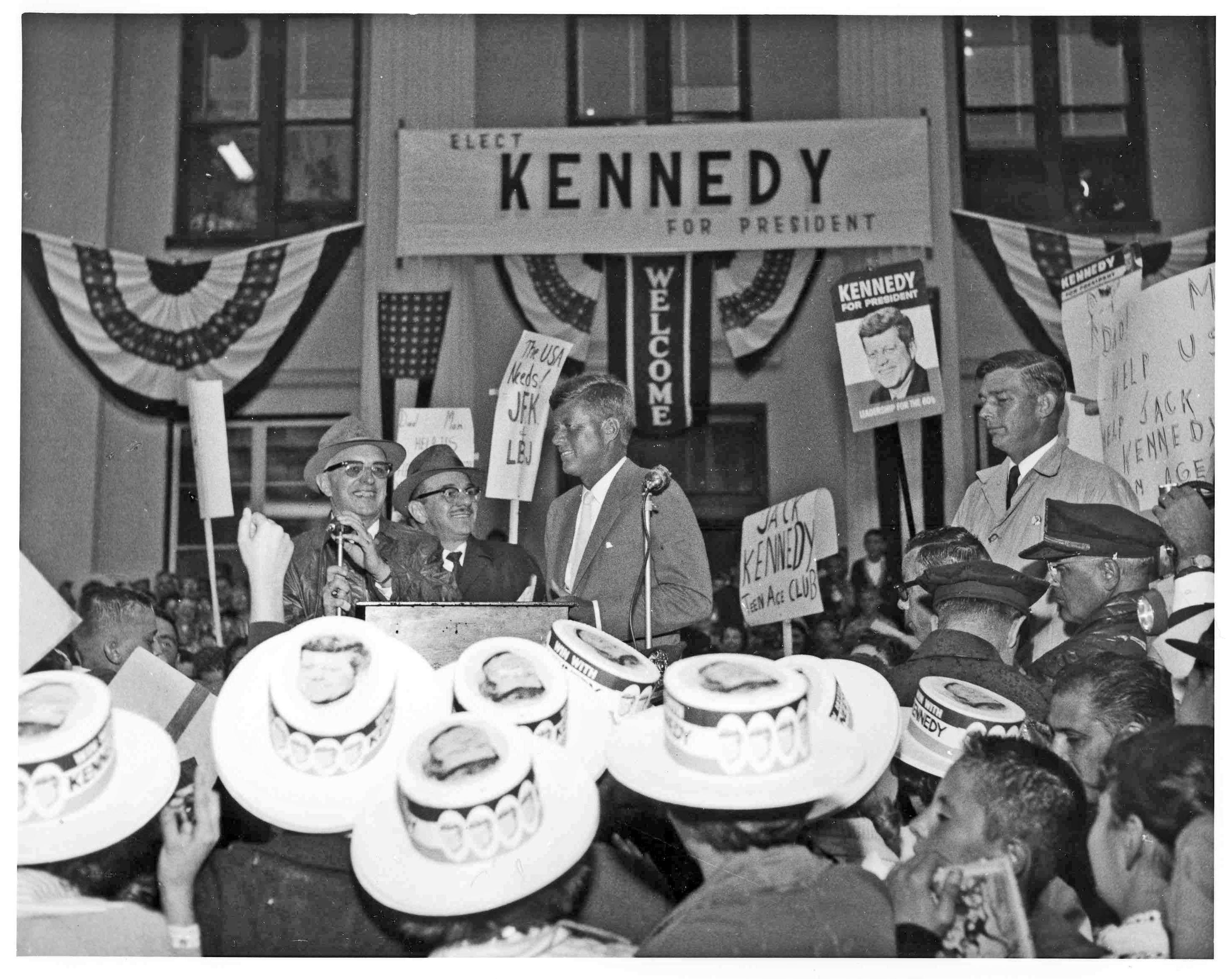 This photo was supplied by Rome Historical Society and Museum.  It shows Senator Kennedy approaching the podium to make brief remarks on his 9/30/1960 stop in Rome.
