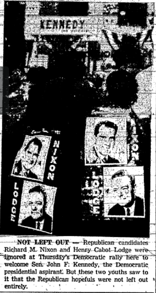 This photo from the 9/30/1960 Rome Sentinel documents the presence of Nixon supporters at the rally.