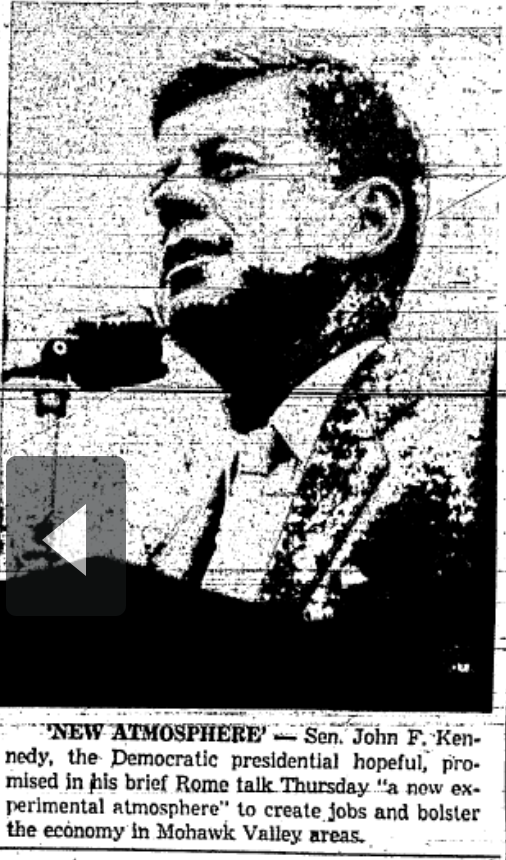 Another photo published in the 9/30/1960 Rome Sentinel shows Kennedy at the podium for his brief remarks.
