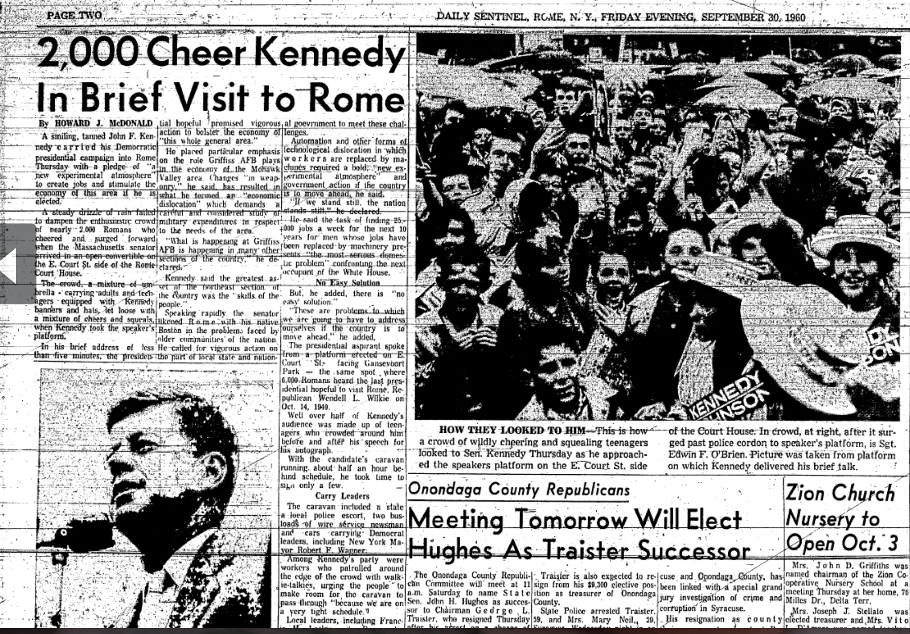This portion of the 9/30/1960 Sentinel shows the coverage given to the campaign stop, which was attended by 2,000 people.